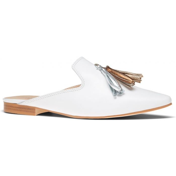 Сабо ботинки кожаные с кисточками